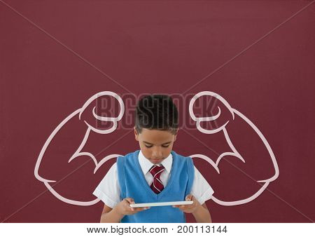 Digital composite of Student boy with fists graphic using a tablet against red blackboard