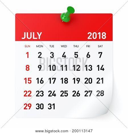 July 2018 - Calendar