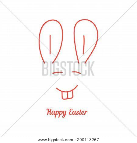 happy easter with thin line rabbit muzzle. concept of festive, face, sketchy element, event, greeting flyer. isolated on white background. flat style trend modern logotype design vector illustration