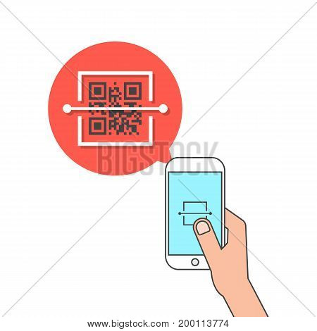 hand holding phone and scanning qr code. concept of price tag, laser, device, global retail, capture, link, program. isolated on white background. flat style trend modern design vector illustration
