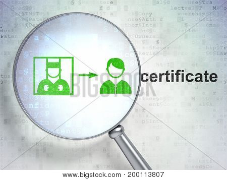 Law concept: magnifying optical glass with Criminal Freed icon and Certificate word on digital background, 3D rendering