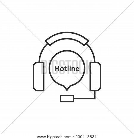thin line headphone like hotline. concept of ask, ui, tech, callback, crm, faq, feedback, e-commerce. isolated on white background. flat style trend modern brand logotype design vector illustration