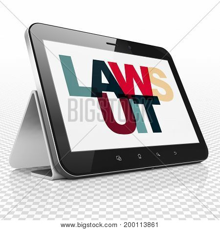 Law concept: Tablet Computer with Painted multicolor text Lawsuit on display, 3D rendering