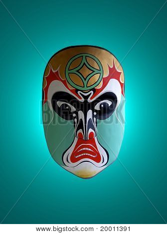 Mask Of Chinese Opera With Green Isolated Background