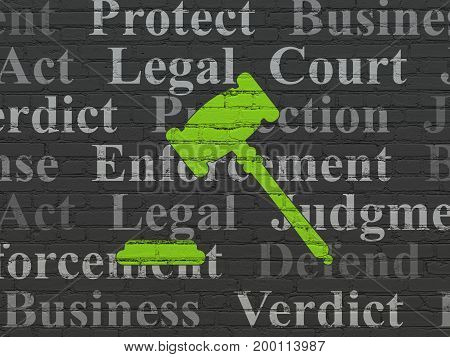 Law concept: Painted green Gavel icon on Black Brick wall background with  Tag Cloud