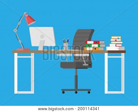 Office desk with computer, chair, lamp, books and document papers. Modern business workplace. Vector illustration in flat style