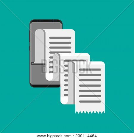 Smartphone and receipt or paycheck. Concept of shopping or mobile banking. Mobile invoice bill paper. Vector illustration in flat style