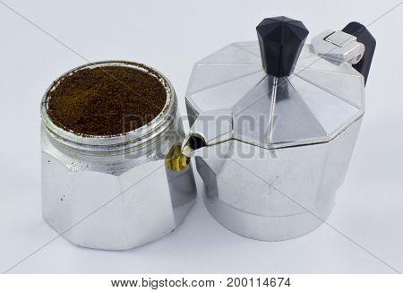 cafetera italiana piezas separadas una con otra