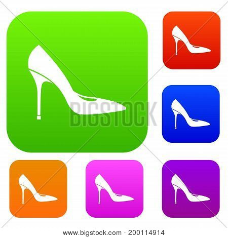 Women shoe with high heels set icon in different colors isolated vector illustration. Premium collection
