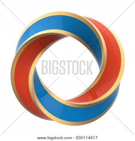 Two color orange and blue twisted ring with gold frame isolated on white background. 3D illustration.