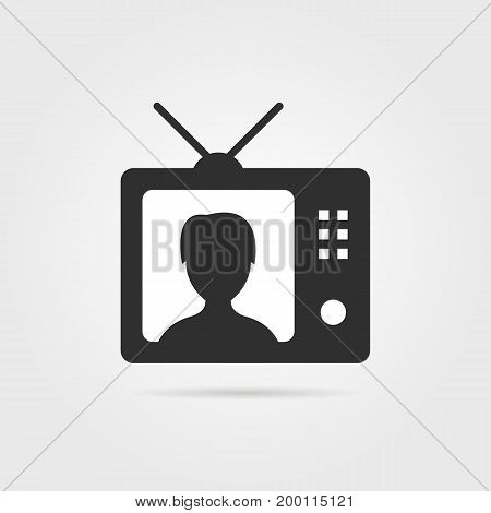 black tv with shadow and anchorwoman icon. concept of anchorperson, report, blog, correspondent, broadcaster, internet tidings, webinar. flat style modern design vector illustration on gray background