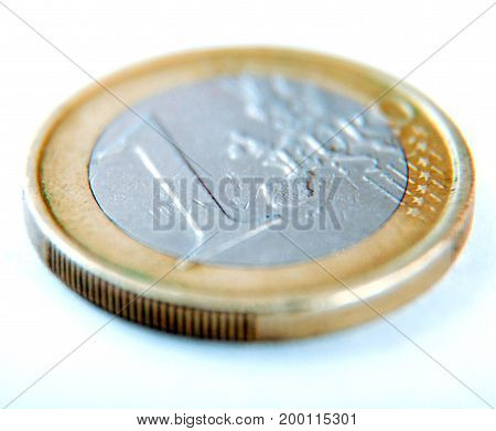 One Euro Coin On White