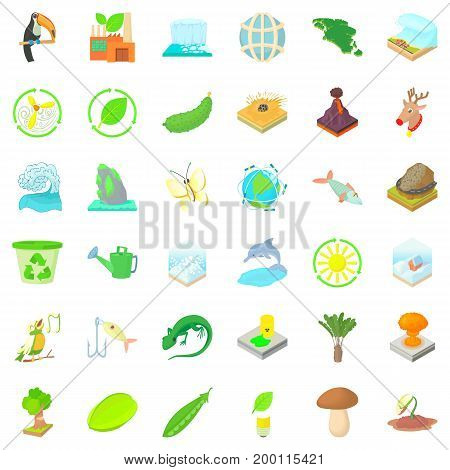 Save ecology icons set. Cartoon style of 36 save ecology vector icons for web isolated on white background