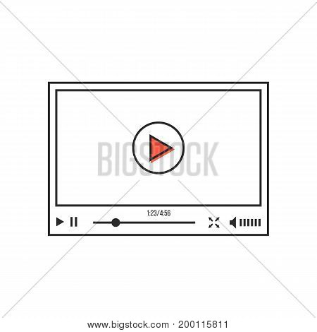 thin line video player interface. concept of e-commerce, podcast, status bar, seo, learning, conference, ui, promotion. linear style trend modern logo design vector illustration on white background