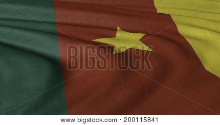 3DIllustration of Cameroon flag fluttering in light wind.