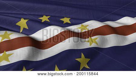 3D illustration of Cape Verde flag fluttering in light wind.