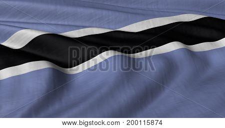 3D illustration of Botswana flag fluttering in light wind.