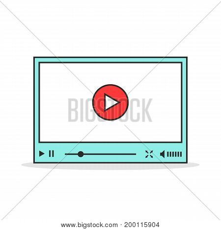 color linear video player interface. concept of e-commerce, podcast, status bar, seo, learning, conference, ui, promotion. flat style trend modern logo design vector illustration on white background
