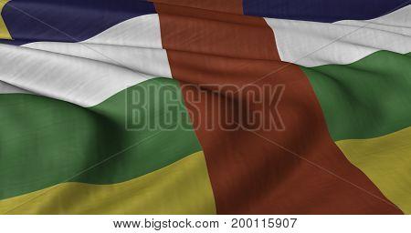 3D Illustration of Central African Republic flag fluttering in light wind.