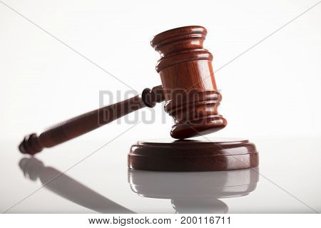 Law concept. Gavel of the judge  on white background.