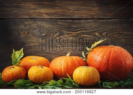 Happy Thanksgiving Day background, wooden table, decorated with vegetables, fruits and autumn leaves. Autumn harvest festival.