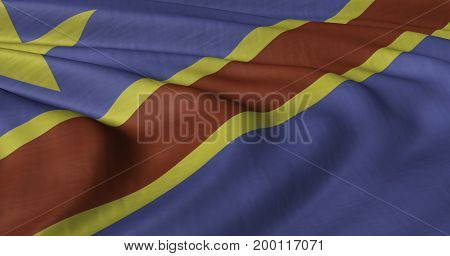 3D illustration of DR Congo flag fluttering in light wind.