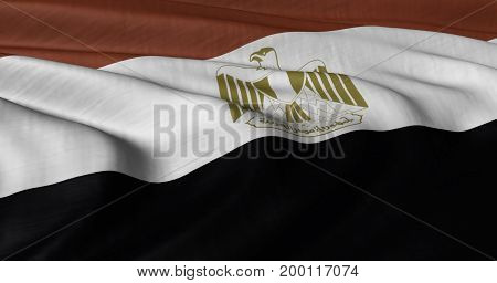 3D illustration of Egyptian flag fluttering in light wind.