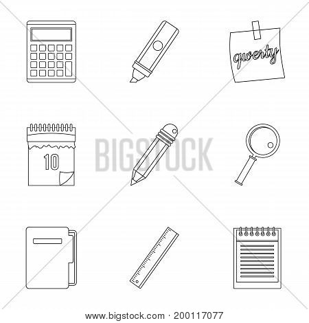 Stationery icon set. Outline style set of 9 stationery vector icons for web isolated on white background