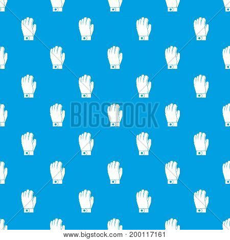 Hockey glove pattern repeat seamless in blue color for any design. Vector geometric illustration