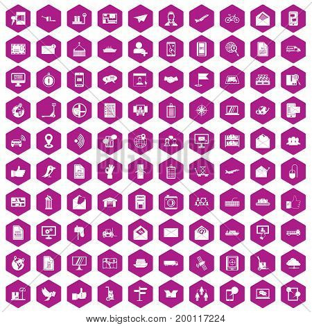 100 post and mail icons set in violet hexagon isolated vector illustration