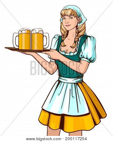 Beautiful young woman waiter holding tray with beer. Oktoberfest German beer festival. Isolated on white vector cartoon illustration