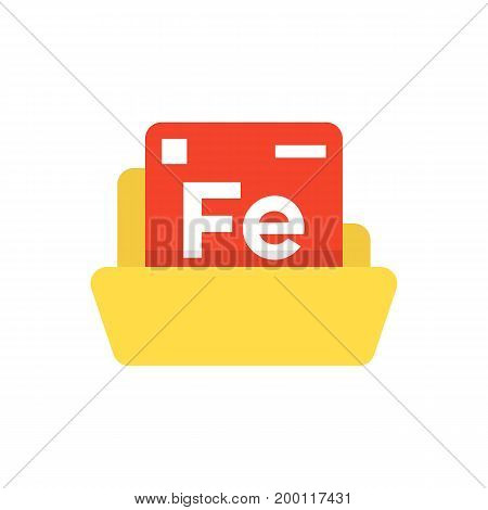 periodic table emblem with yellow folder. concept of compounds, creative application, universe study, unique formula, nature. flat style modern logotype design vector illustration on white background