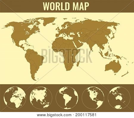 World Map with Globes. Infographic map. Vector illustration