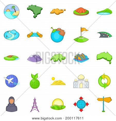 Space icons set. Cartoon set of 25 space vector icons for web isolated on white background