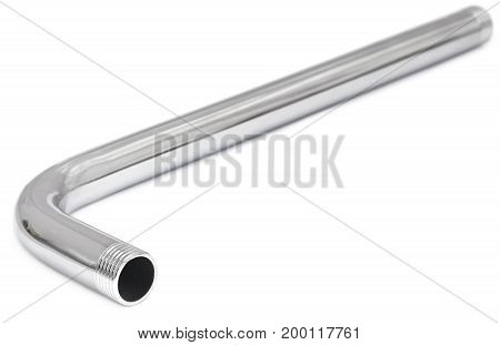Closeup of Stainless steel pipe over white background
