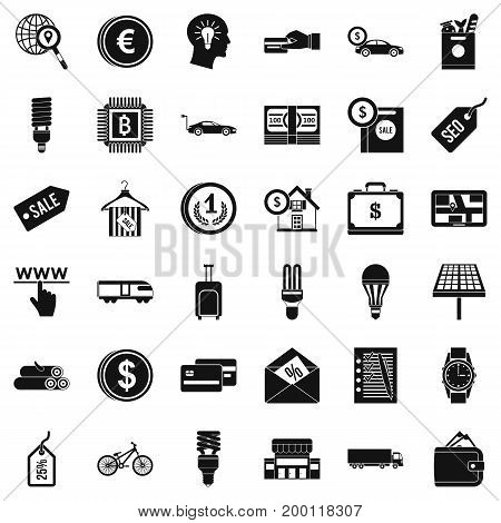 Save economy icons set. Simple style of 36 save economy vector icons for web isolated on white background