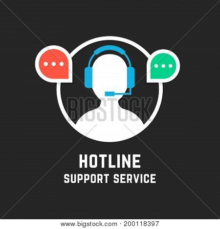 hot line with white assistant manager. concept of crm, ui, seo, repair, learning, tech care, e-commerce, retail, mobile app. flat style trend modern logo design vector illustration on black background