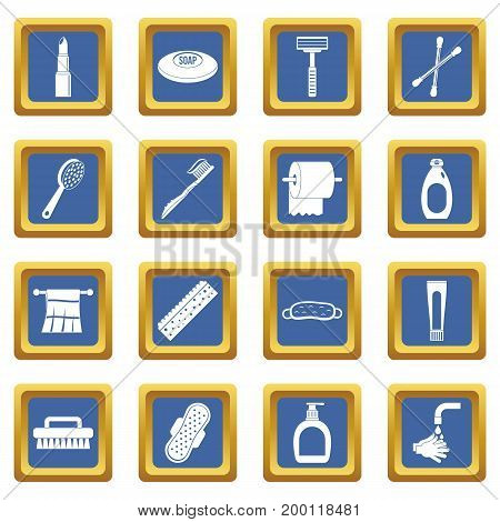 Hygiene tools icons set in blue color isolated vector illustration for web and any design