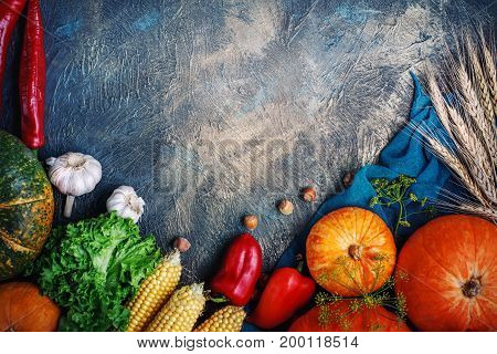 The table, decorated with vegetables and fruits. Harvest Festival, Happy Thanksgiving. Autumn background.