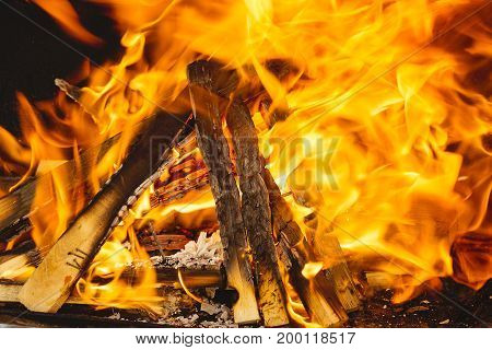Burning fire or flame from a barbecue closeup picture