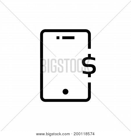 black outline phone with dollar sign. concept of nfc, ui, debit, receive income, global wallet, balance, retail, credit. flat style trend modern logotype design vector illustration on white background