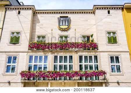 Meran Italy 11 Aug 2017: Forst Beer restaurant building facade. Birra Forst is a famous south tyrol beer