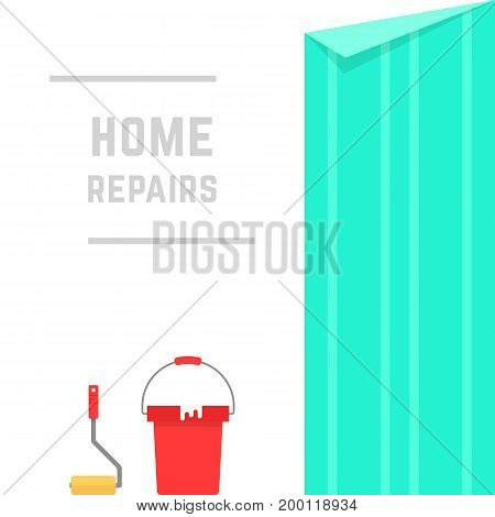 home repairs with hanging wallpaper. concept of clutter, mess, platen, renew, creative idea, master, remodel, decor, housework. flat style trend modern design vector illustration on white background