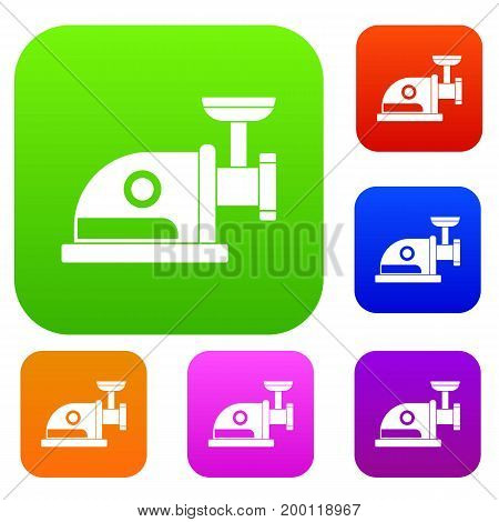Electric grinder set icon in different colors isolated vector illustration. Premium collection