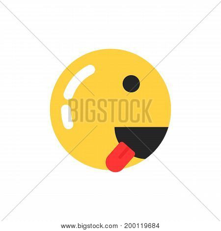 yellow smiley icon like runner. concept of emoji, grin, workout competition, training, foodie, enjoy food, crazy, mad. flat style trend modern emoji logo design vector illustration on white background