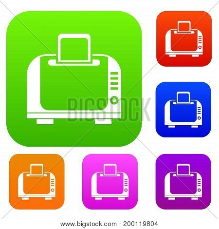 Toaster set icon in different colors isolated vector illustration. Premium collection