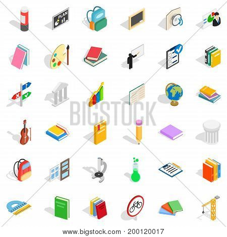 Education in school icons set. Isometric style of 36 education in school vector icons for web isolated on white background