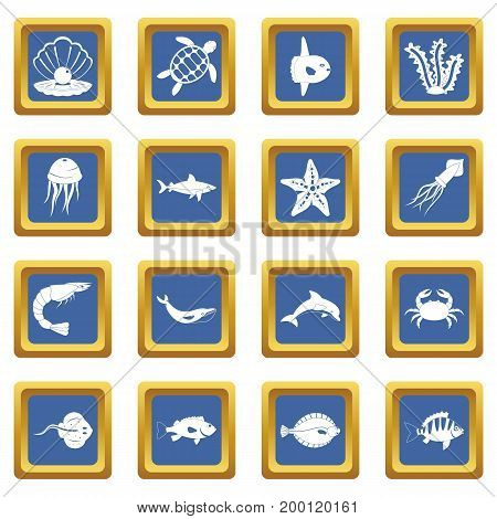 Sea animals icons set in blue color isolated vector illustration for web and any design
