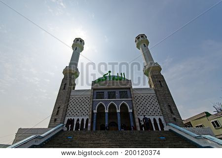 Seoul South Korea - April 07 2017: The Seoul Central Mosque is the only mosque in Seoul. Located in Itaewon town one of the most ethnically diverse regions in Korea.