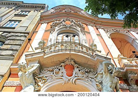 Sculpture at the main entrance to the House of Scientists in Lviv, Ukraine. Former national casino until 1939 built by Fellner and Helmer in the years 1897-1898